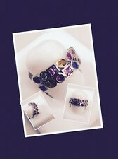 14kt White Gold Multi-Colored Sapphire Ladies Ring