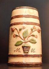 1902 2 liter Antique German Lidded Beer Stein relief flowers clay vintage old