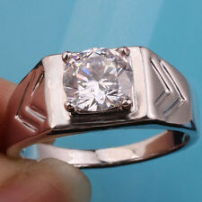 .925 Sterling Silver Ring for Men Size 13 Clear CZ Dad's Gift