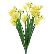 Artificial Yellow Freesia Bush with 12 Flowering Stems and Buds - 52 cm Flower