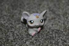 Littlest Pet Shop Gray Mouse #116 Purple Bow LPS Toy Yellow Eyes Hasbro 2005