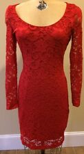 "Belle Badgley Mischka ""Red Lace Long Sleeve Cocktail Dress * Size 10 * NEW*"