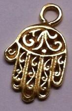DH83aG - 24k Gold over Sterling Vermeil Hand Hamsa Filagree Charm/Pendant