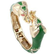 Elephant Animal Bangle Cuff Rhinestone Crystal Green Enamel Gold Tone Retro