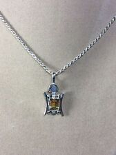 Vintage 925 Sterling Silver and Citrine Crystal Pendant And Chain Combo