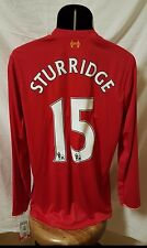 NB FC Liverpool Long-Sleeve Home Jersey 15/16(Men's Sz Large)*Sturridge #15* Red