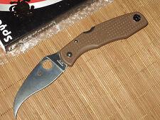 Spyderco C12PBN Matriarch brown flat ground plain edge knife - SPRINT RUN - NEW