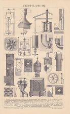 Ventilation Belüftung Sonnenbrenner HOLZSTICH von 1886 Ventilator
