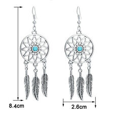 2016 New Boho Turquoise Beads Feathers Dream catcher Dangle Earrings Jewelry