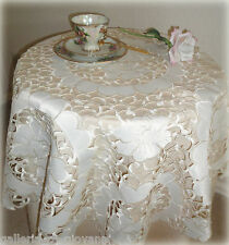 "VANILLA ROSE  Doily 43"" Sq Table Topper Flower Tablecloth Cream Tablecloth"