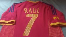 Raul #7 Spain World Cup 2002 Adidas Soccer Football Size XL Red Short Sleeve