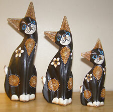 FAIR TRADE Hand Carved Wooden Shabby Cat Statues - Set of 3 Ornaments NEW