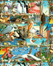 Fat Quarter Birdwatching, Multiple Bird Breeds 100% Cotton Quilting Fabric