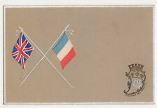 Union Jack & France Flags Embossed Patriotic Postcard, B302
