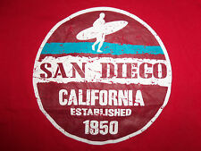 San Diego California Beach Surfer With Surfboard Est. 1850 Red Graphic T Shirt S
