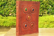 Handmade Leather Journal Large Five Stones Big Diary Artist Sketchbook 13x10