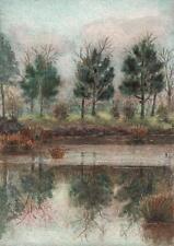TREES & RIVER IN LANDSCAPE Antique Watercolour Painting c1910