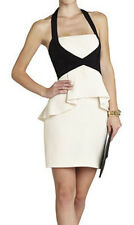 "$338 BCBG CREAM COMBO ""KIRSI"" PEPLUM HALTER DRESS NWT 4"