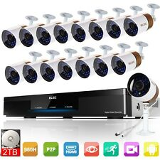 ELEC 16CH 960H DVR CCTV Surveillance Security Camera System Video Recorder 2TB