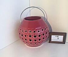 POTTERY BARN PINK LATTICE CERAMIC ORB LANTERN CANDLE VOTIVE NEW - NWT
