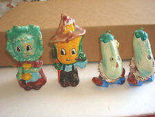 ANTHROPOMORPHIC CUCUMBERS AND CORN & CABBAGE SALT & PEPPER SHAKERS JAPAN