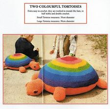 VINTAGE CROCHET PATTERN - TWO COLOURFUL TORTOISES TOYS - RUG YARN - LAMINATED