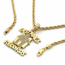 "Men's 14k Gold Plated ""Last Kings Records"" Pendant Hip-Hop 24"" Rope Chain"