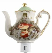 Green Pastures Red Apple Teapot Porcelain Decorative Night Light 6-In by 5-In