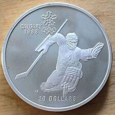 Canada 1986 20 Dollars, KM-148, Proof, Calgary Olympics, Ice Hockey Goalie