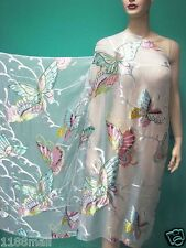 WHITE BUTTERFLY BURNOUT SILK CHIFFON FABRIC w SATIN LAYER  PER Metre FREE BUTTON