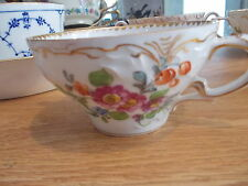 4 Antique Floral DRESDEN Cream Soup Cups  H-185