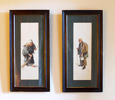 Pair Framed Japanese Watercolours C1850 65cm tall. Signed S Hodo.