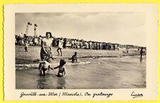 cpsm Rare GOUVILLE sur MER vers 1950 (Manche) On PATAUGE Foule FÊTE Photo LUCIEN