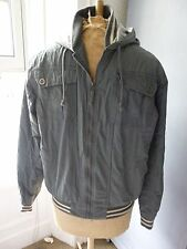 mens  bomber  JACKET  with hood sIze small  by 'denim seventy three'