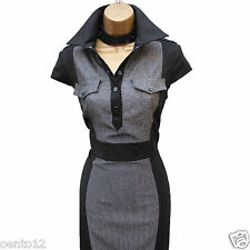 Karen Millen Grey Black Shiny Tweed Shirt Style Cocktail Wiggle Dress UK 10