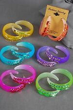 """Bulk Lot 12 Pairs Earrings Acrylic Candy Loop W Stones 1.75"""" Assorted Colors"""