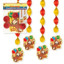 CURIOUS GEORGE ~ (4) Hanging Decorations ~ Monkey Birthday Party Supplies