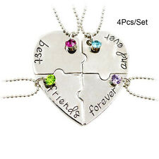4Pcs/Set Best Friends Forever and Ever Hand Stamped Heart Piece Necklace Jewelry
