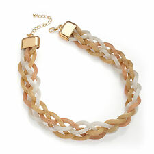 "Gorgeous 18"" long 5 row rose gold, gold and silver tone platted chain necklace."