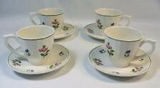 4 Gien Lorraine Rose France Green Trim Hand Paint Cups & Saucers Excellent