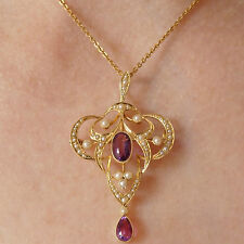 Antique Victorian 15ct Gold Amethyst & Pearl Pendant Necklace or Brooch c1895