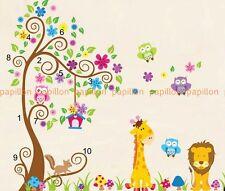 Gigante De Flor De Árbol Con Dibujo De Búho, los animales (Jirafa, León) Vivero pegatinas de pared