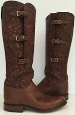$995 LADIES LUCCHESE LEATHER LIEUTENANT HANDMADE BROWN WOMEN'S TOOLED BOOTS 9