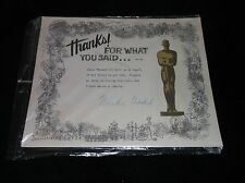 VERY RARE HAND SIGNED MIKE TODD OSCAR DOCUMENT WITH PERSONAL NOTE WOW!