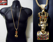Hip Hop Iced Out Chunky King Tut Pharaoh Egyptian Pendant Franco Chain Necklace