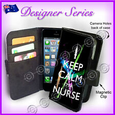 Designer Apple iPhone 5C Wallet Flip Card Case Keep Calm I'm a Nurse Funny 2