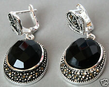 Vintage 925 Sterling Silver Natural Faceted Black Agate Onyx Marcasite Earrings