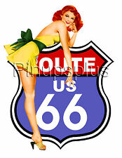 USA Route 66 Vintage Pinup Girl Waterslide Decal Sticker for guitars & more S72