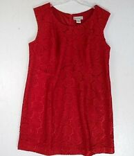 "Red Lace ""Seventh Avenue"" Sheath Womens Mid-calf Dress 2X .... Bust 51"""