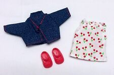 Barbie Kelly Doll clothes Cherry Dress Blue Denim Jacket + shoes Mattel New
